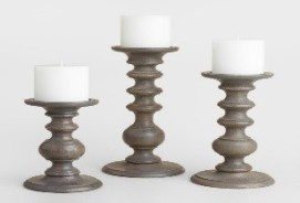 Gray Wood Pillar Candleholder