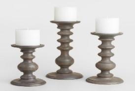 Gray Wood Pillar Candleholder