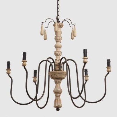 Wood Beaded Corinne Chandelier