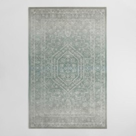Gray And Blue Tonal Print Woven Wool Aliyah Area Rug