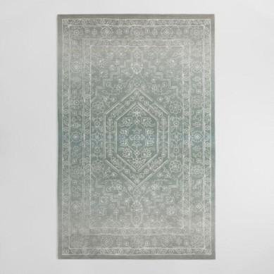 Gray And Blue Tonal Print Woven Wool Aliyah Area Rug